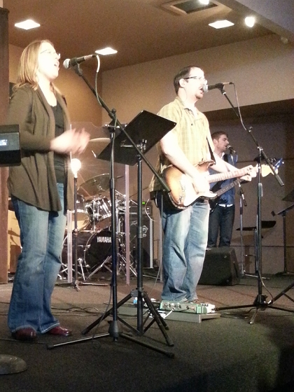 Dan and Alisa leading worship on Sunday morning