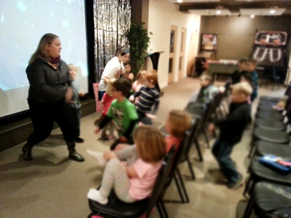 Our Children's Ministry Intern, Chelsey D., leading the kids in one of our songs!