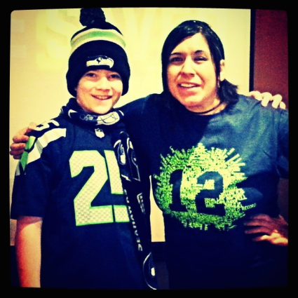 My first (and only) Seahawks shirt! My little buddy Joe is a MUCH bigger fan than I am. ;)