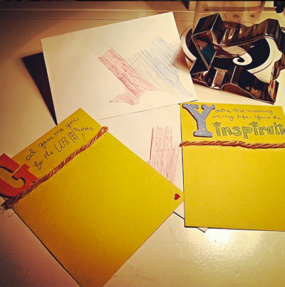 Today's #DoOverBook Challenge Craft: Custom letters to send home to the Fam Bam! ♥