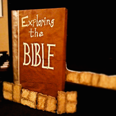 Today's #DoOverBook Challenge Craft: Creating a huge Bible for our Exploring The Bible series at 2Twelve, out of a couch box, kraft paper, spray paint, paint and masking tape. :O